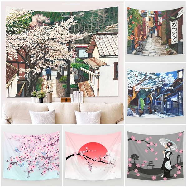 Japanese Cherry Pink Warm Tapestry Wall Painting Decorative Home Decor Yoga Mat Living Room Decoration Ideas M 130 150cm L 150 145cm