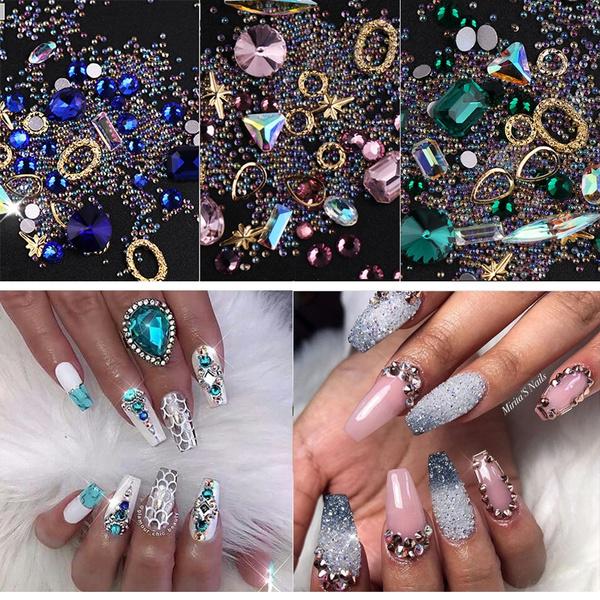 Ultra Shining Nails Rhinestone Decoration Mixed Colors Diy Charm Jewelry Glitter Nails Art