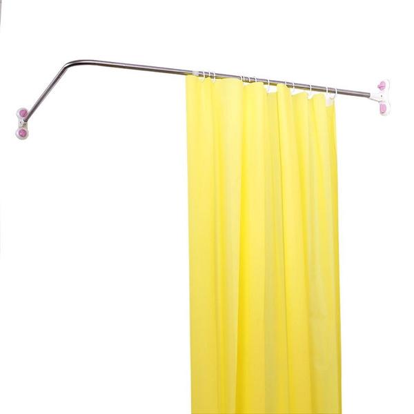 Wish | Baoyouni Curved Shower Curtain Rod Suction Cups L-Shaped Corner Bath Curtain Rail Bar Metal Expandable Pole 46.46''-70.87''