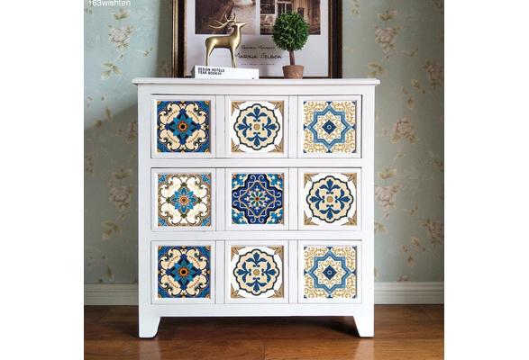 10PCS Innovative Minimalist Moroccan-Style Ceramic Tile Art Decor Living Room Waterproof Wall Stickers