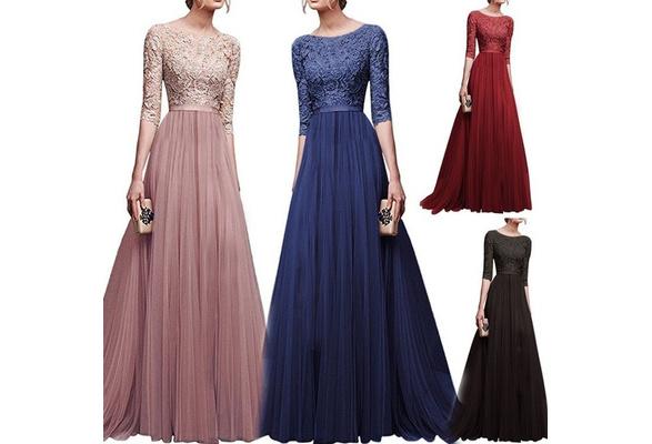 2018 Women Elegant Lace Dress Long Maxi Dresses Chiffon Half sleeve Evening Wedding Party Dress