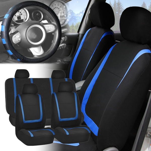 Admirable Car Seat Covers Blue Black Full Set For Auto W Blue Leather Steering Wheel Pdpeps Interior Chair Design Pdpepsorg