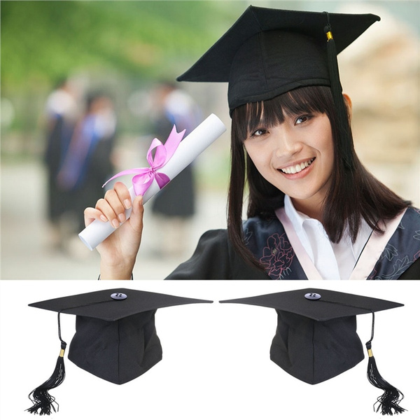 Adjustable Adults Student Mortar Board Graduation Hat Cap Fancy Dress Accessory