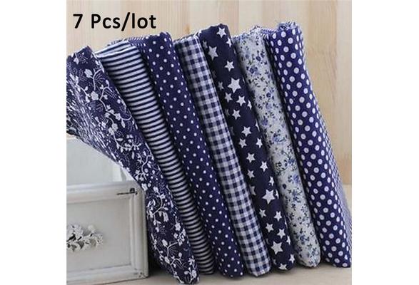 100% Cotton 7 Assorted Pre Cut Charm 10' Squares Quilt Fabric Quarters Blue DIY
