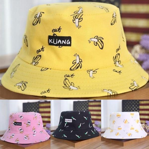 23cc8174 Men Women Unisex Bucket Cap Cotton Banana Hat Bob Caps Hip Hop Cool ...