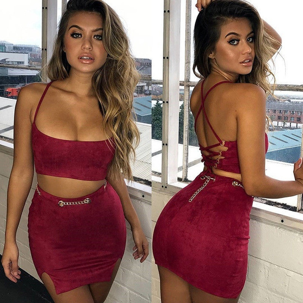 e1cd8a9bc0772 Women 2 Piece Bodycon Two Piece Crop Top and Skirt Set Lace Up Dress Party