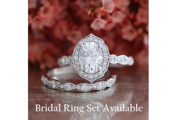 Exquisite Oval Cut Gem Ring Set Moissanite Engagement Ring Scalloped Diamond Wedding 14k White Gold Vintage Floral Bridal Set