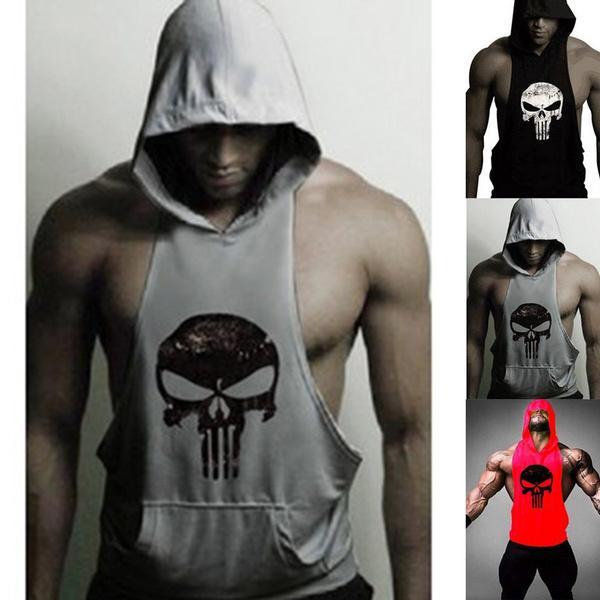 3d9f55871df518 Men Hoodie Vest Muscle Stringer Bodybuilding Punisher Skull Gym Tank ...