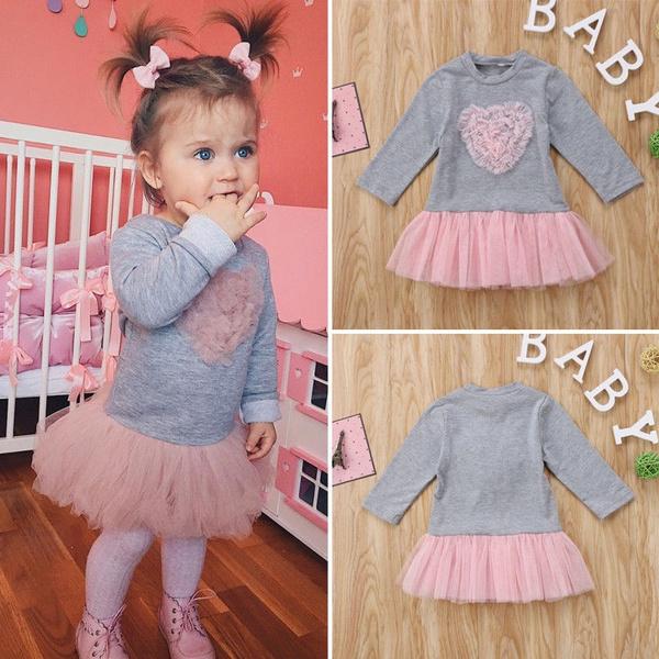 Newborn Kids Baby Girl Lace Tutu Tulle Dress Sweatshirt Skirt Outfit Clothes Lxj