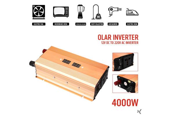 High Quality ! 4000W Power Inverter Car Inverter DC12V To AC220V/AC110V Aluminium Alloy Transformer Automobile