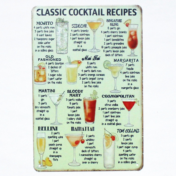 Classic Cocktail Recipes Chart Metal Tin Sign Poster (Mojito, Bloody Mary,  Sidecar, Martini etc) 20 x 30 cm