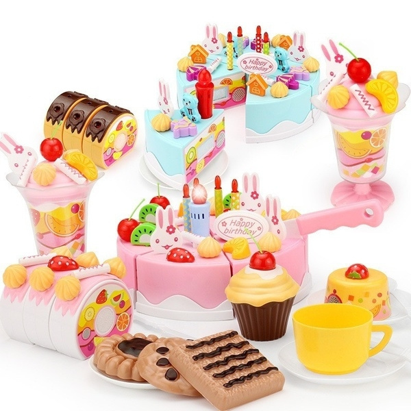 38 54 75 Pcs Set Plastic Kitchen Cutting Toys Birthday Cake Pretend Play Food Toy Set For Baby Kids Children Girls