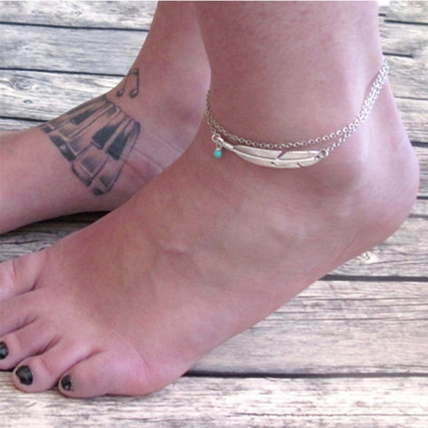 beachankletchain, leaffeatherbangle, Chain, leafbracelet