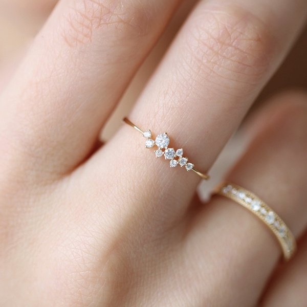 925 Sterling Silver Crystal 14k Solid Gold Simple 3 Diamonds Ring