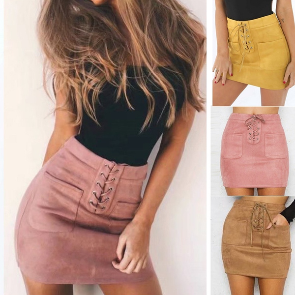 2018 Women Leather Suede Lace Up Bandage High Waist Party Pencil Short Mini Skirt Dress