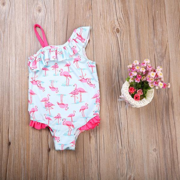 Kids Girls Flamingo Bathing Suit 3Years 4Years 5Years 6Years 7Years Swimwear