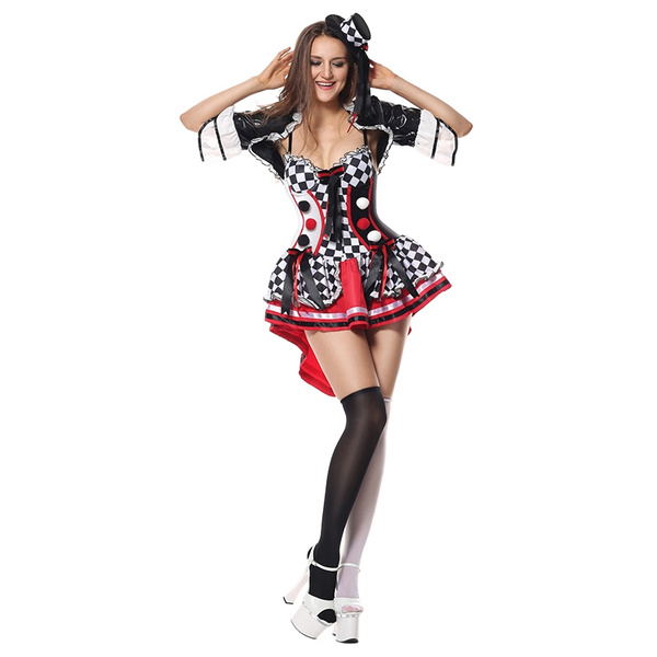 Sexy Cosplay Harley Quinn Costumes Women Carnival Circus Clown Costume  Halloween Adult Club Party Fancy Dress Fantasias