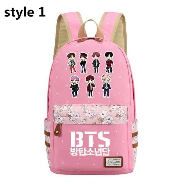 Bangtan Boys BTS Rap Monste BT21 Canvas Bag Girls School Backpack Rucksack