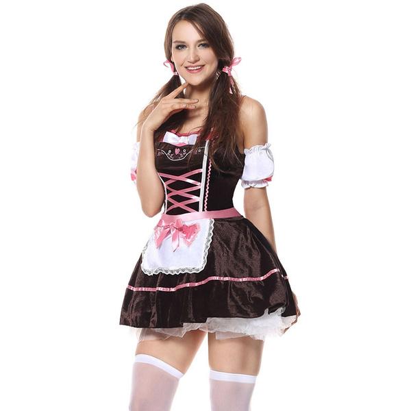 German Dress Bavarian Dirndl Beer Girl Costume Cosplay Maid Halloween Outfit