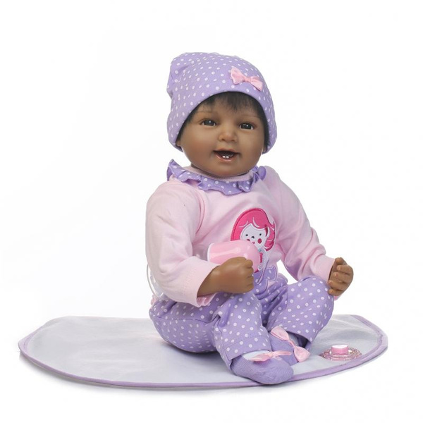 "Reborn Baby Doll Black 22/""Girl Full Body Vinyl Silicone Toddler African American"