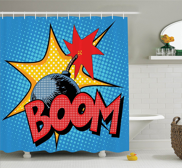 Vintage Decor Shower Curtain By Ambesonne Retro Boom Bomp With Flame Print On Dotted Background Comics Pop Art Image Polyester Fabric Bathroom Set