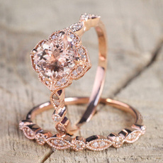 Women, crystal ring, 18krosegoldplated, 2pcsringset