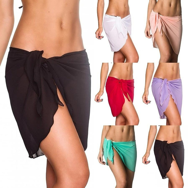 7a7d99888aae8 Wish   Dropshipping Women Beach Sarongs Chiffon Cover Up Bikini Swimwear  Coverup Wrap Skirt Swimsuit