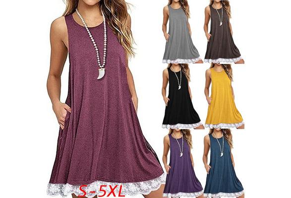Women's Fashion Plus Size Casual Lace Stitching Sleeveless Cotton Tunic Swing T-Shirt Dress with Pockets