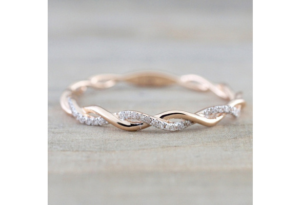 Women's Fashion 14K Solid Rose Gold Stack Twisted Rhinestone Ring Anniversary Engagement Wedding Jewelry Band Ring Size 5-10