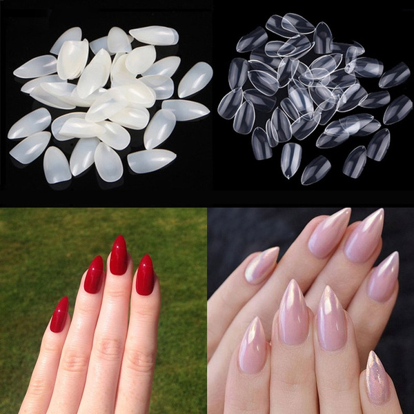 600PCS Stiletto Pointed Acrylic Nails Almond Oval Short Artificial ...