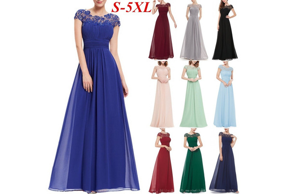 Women's Fashion Sexy Elegant Short Sleeve Lace Panel Wedding Dress Maxi Dress NS0001