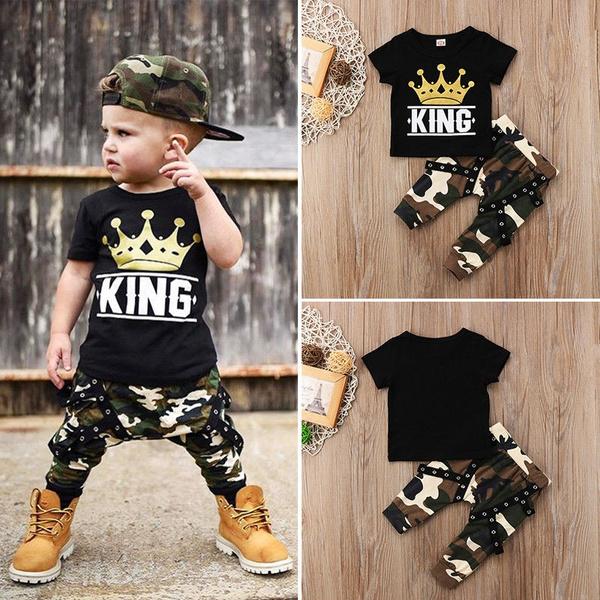 Newborn Toddler Infant Kids Boy Clothes T-Shirt Tops+Camo Pants Outfits 2PCS Set