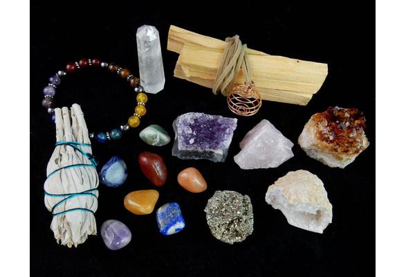 White Sage Palo Santo Wood /& Crystal Healing Kit Raw Crystals Quartz Obelisk Palo Santo Sticks 17Pc Bracelet /& Spiral Pendant Necklace w COA /& Info Card ~ Smudge Stick 7 Chakra Stones