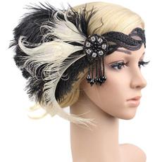 Cosplay, featherheadband, flapperheadband, braidedheadband