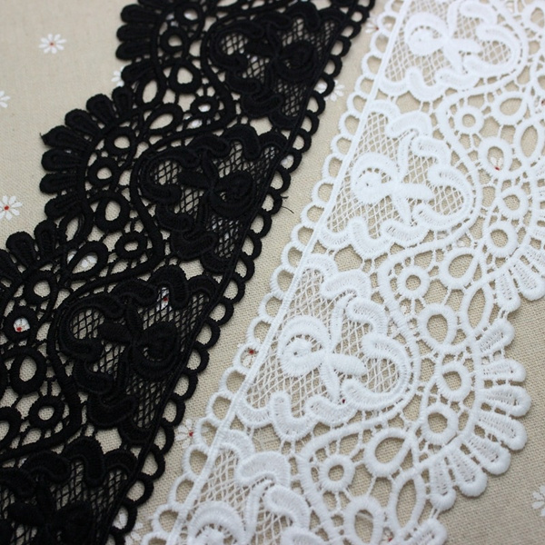 1 yd Vintage Gray Embroidered Lace Edge Trim Wedding Ribbon Applique DIY Sewing