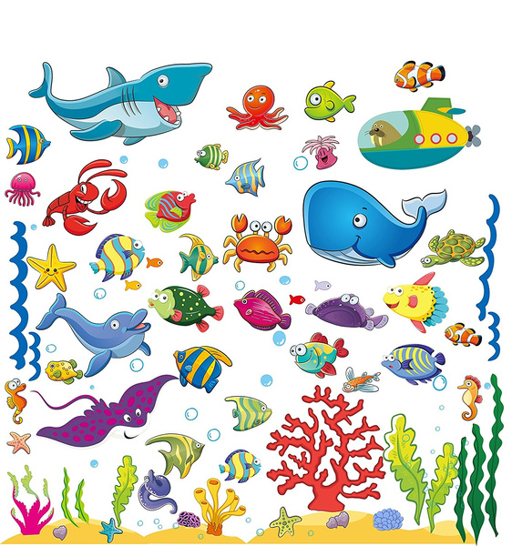 Wall Stickers Shark Fish Animal Sea Ocean Bathroom Boys Art Decal Vinyl Room