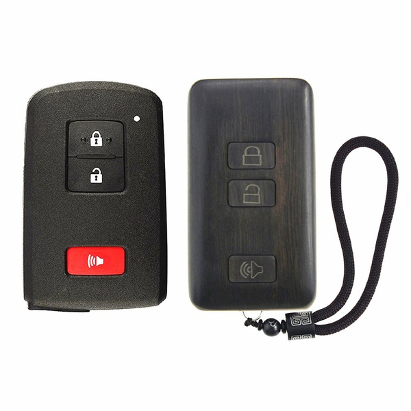 Shikelang Keyless Entry Remote Control Refit Rosewood Car Key Fob Shell Replacement For 2016 2017 Toyota Tacoma Land Cruiser Prius Rav4 Circuit Board