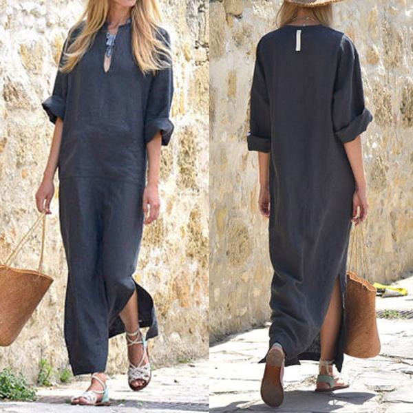e8e98c378ad2f Celmia Women Plus Size Fashion Dresses Casual Loose Long Sleeve Vestidos  Sexy Vintage Maxi Long Cotton Linen Dress