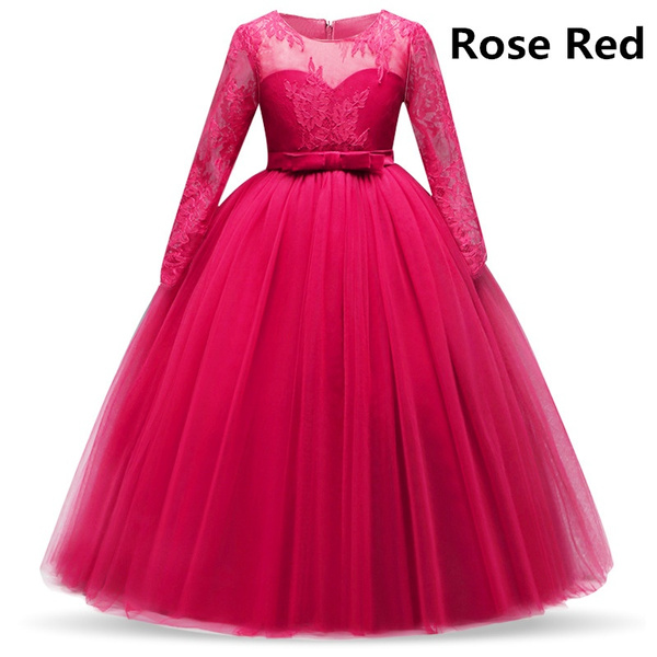 Wish | Girl\'s Long Sleeve Lace Dress Kids Formal Party Evening ...