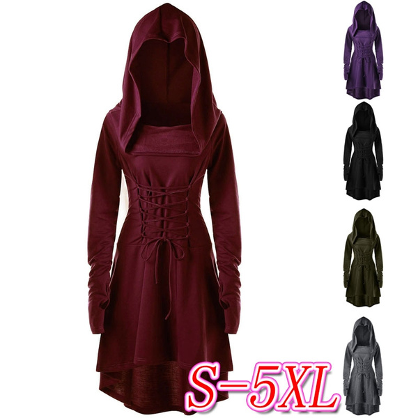 Swing dress, hooded, Lace, Long Sleeve