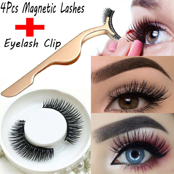 bba56ee48e1 1 Set 3D Magnetic Fake Eye Lashes Makeup+1p Clip Magnetic Eyelashes Natural  False Eyelashes Women Be