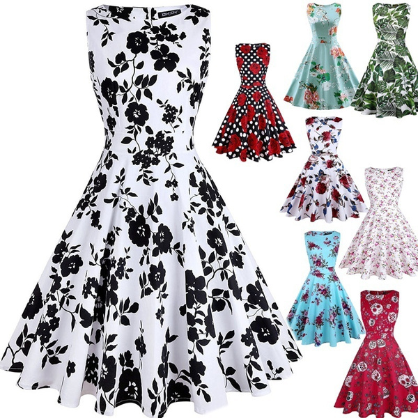 Summer, flaredres, skullprint, Dress