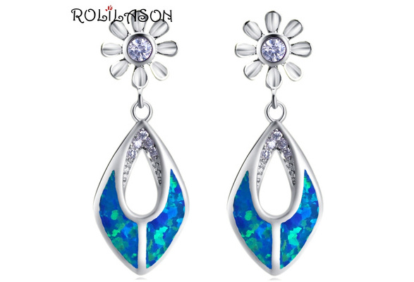 ROLILASON Mysterious created opal Anniverary gift White Fire Opal 925 Silver stamped Pendant Necklace Jewelry for Woman OP803