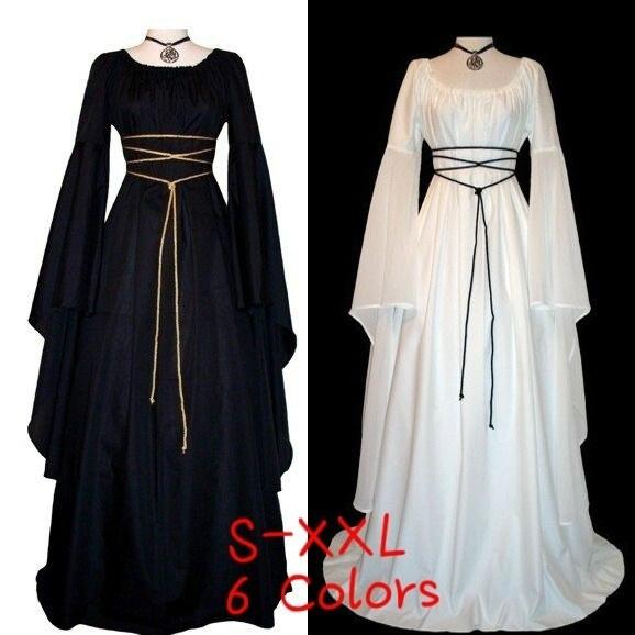 f918952ca2c2b Women Medieval Renaissance Retro Gown Cosplay Costume Dress Long Lseeve  Maxi Bandage Dresses New Fashion