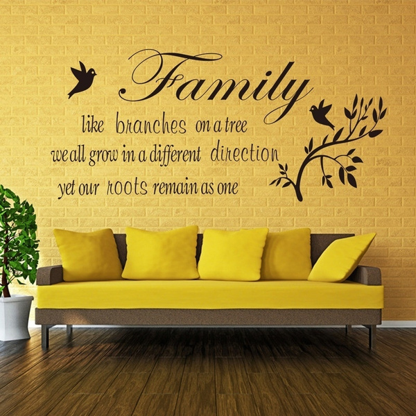 dnven family tree branches black english words wall sticker tree