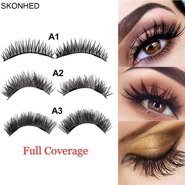 060461cfe35 SKONHED 4 Pcs Long Lashes Handmade False Eyelashes Dual Magnet ...