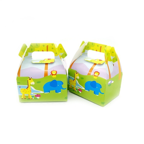 6pcs Lot Jungle Safari Animals Candy Box Small Gift Box For Baby Shower Kids Brithday Party Decoration