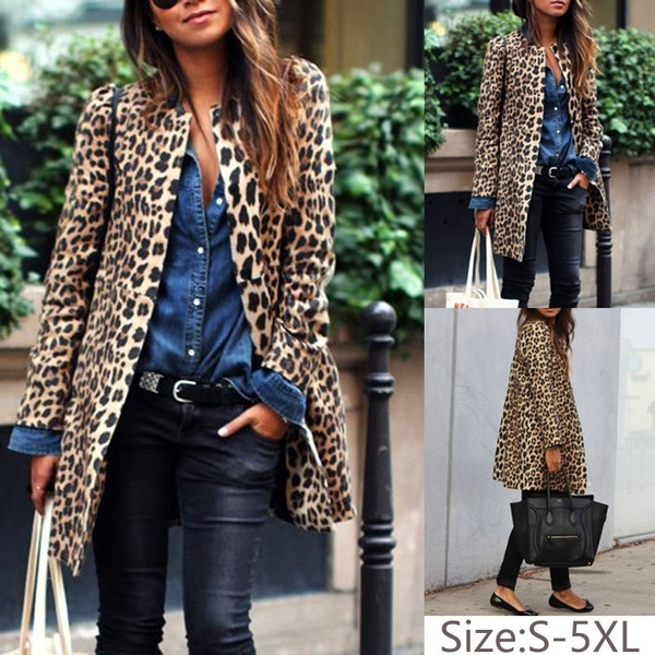 Women/'s Leopard Print Cardigan Long Sleeve Casual Long Coat Outwear Slim Jacket