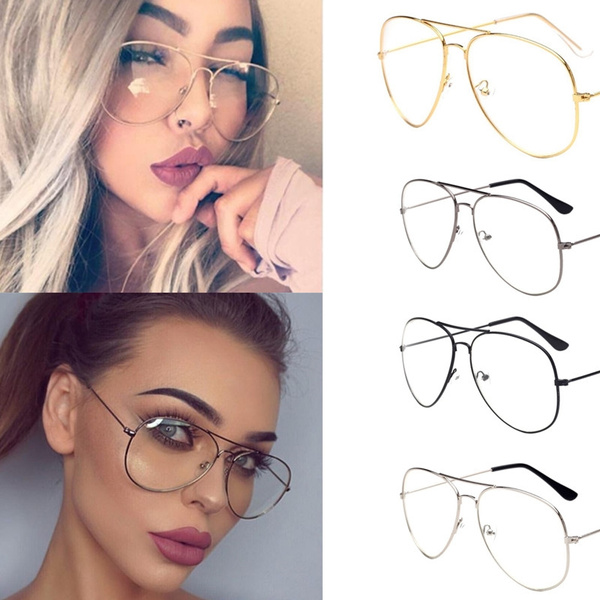 480de2165351 Punk Style Fashion Gold Frame Clear Glasses Myopia Clear Frame ...