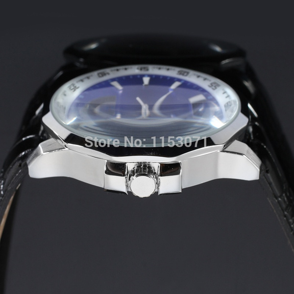 Home | WINNER Men Skeleton Automatic Watch Black Leather Band Wristwatch with Gift Box